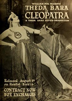 Cleopatra (1917) was an American silent historical drama film based on H. Rider Haggard's 1889 novel Cleopatra and the plays Cleopatre by Émile Moreau and Victorien Sardou and Antony and Cleopatra by William Shakespeare.[The film starred Theda Bara in the title role, Fritz Leiber, Sr. as Julius Caesar, and Thurston Hall played Mark Antony. The film is now considered lost, with only fragments surviving.