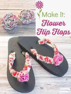 Trainsform a plain pair of cheap flip flops into cute footwear for spring for no money! Click for the tutorial on how to make flowers out of scrap fabric, plus more ideas to use them to spiff up your warddrobe and your home decor.  No-Sew Project: Embelli
