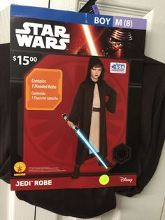 Star Wars Costume Jedi Robe Size 8 Boys  Brown With Hood #Rubies #Cape