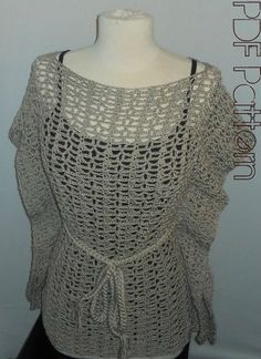 Crochet Top Pattern-Kimono Lace Top-Plus Size Clothing-PDF Pattern. $5.00, via Etsy.