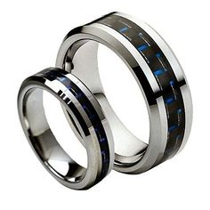 Men & Ladies 8MM/6MM Tungsten Carbide Beveled with Black & Blue Carbon Fiber Inlay Wedding Band Ring Set, Size: Ladies Size 5 - Mens Size 7