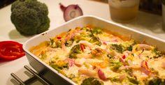 Kyllingform med brokkoli og paprika. 4 porsjoner á   Calories: 319 kcal Fat Content: 6 gr Protein Content: 49 gr