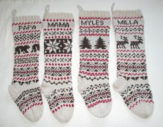 For 2015: Fair Isle Stocking Knitted by SantasSockCentral on Etsy