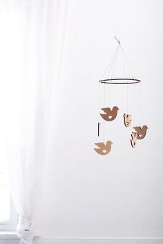 Wooden Dove Bird Mobile | Nursery Decor | Crib Mobile | Home Decor | Palm Leaf | Wood Mobile | Baby Room | Scandinavian Decor