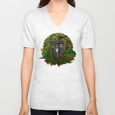 Abandoned Tardis doctor who in deep jungle UNISEX V-NECK T-SHIRT #vneck #tshirt #tee #clothing #painting #acrylic #watercolor #ink #comic #3d #popart #doctorwho #davidtennant #10thdoctor #tardisdoctorwho #timemachine #tardis #vangogh #jungle #woods #phonebooth
