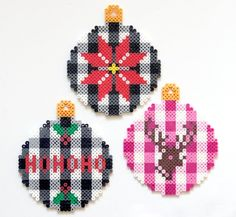 DIY Buffalo Check Perler Bead Christmas Ornaments