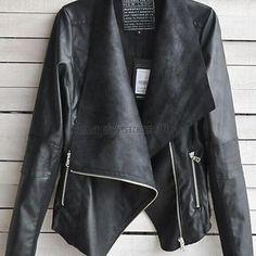 Women's Slim Motorcycle PU Soft Leather Vintage Zipper Jacket Black Coat Outwear