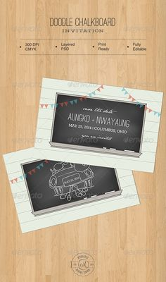 Doodle Chalkboard Invitation — Photoshop PSD #wedding #template • Available here → https://graphicriver.net/item/doodle-chalkboard-invitation/5041763?ref=pxcr