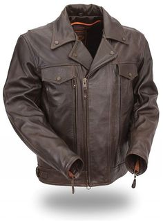 Mens Brown Utility Cruising Motorcycle Jacket