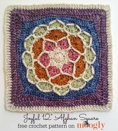 """Joyful Square - beautiful FREE 12"""" crochet square pattern on Moogly!"""