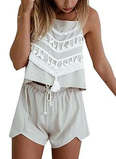 UUYUK Womens Sexy Tassel Halter Tops Shorts 2 Piece light Grey US M ** Check out this great product.