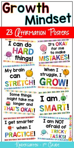 Create a culture of success, perseverance, and motivation! Are you a Kindergarten, 1st, 2nd, or 3rd grade teacher looking for growth mindset posters? These 23 watercolor affirmation posters for primary grades will kick start your growth mindset instruction and are perfect for any classroom bulletin board or display.  Each of the posters comes in full color and black-and-white. #growthmindset #growthmindsetposters #growthmindsetbulletinboard