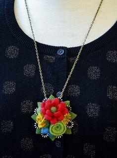 Woolly flower pendant!! by woolly  fabulous, via Flickr