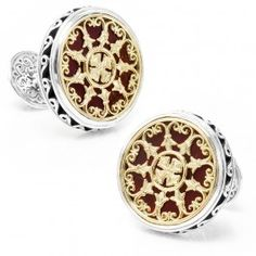 Konstantino+Round+Scroll+with+Carnelian+Stone+Cufflinks