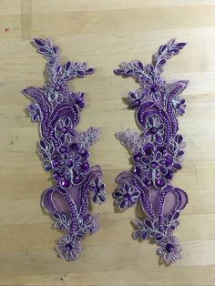 Purple Beaded Appliques with silver metallic threading Beaded