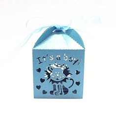 NUOLUX Its a boy Laser Cutting Favors Box Candy Gift Paper Candy Sweets Gift Boxes Baby Shower Favors 50pcs Blue >>> Read more  at the image link.  This link participates in Amazon Service LLC Associates Program, a program designed to let participant earn advertising fees by advertising and linking to Amazon.com.