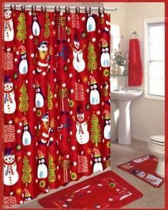 1000 Images About Christmas Shower Curtain Set On