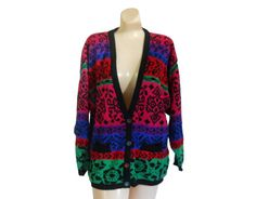 Vintage 90s Cardigan 90s Sweater 80s Cardigan Funky by #ShineBrightVintage