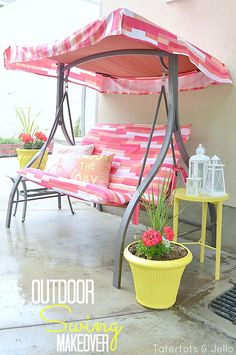outdoor swing makeover by @Tatertots and Jello .com