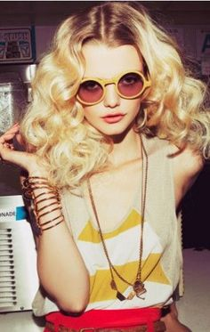 Disco Doll More 70S Fashion, Blondes Hairstyles, Big Curls, Vintage Hairstyles, Vintage Sunglasses, Planets Blue, Round Sunglasses, Photo Shooting, Eye Glasses photo shoot yellow vintage eye glasses Cool Long Curly Blonde Hairstyle - Homecoming Hairstyles 2014 Peekabooda - Vintage Sunglasses - Planet Blue x Foam Magazine Coachella Big curls   Round Sunglasses les lunettes~... vintage hairstyle