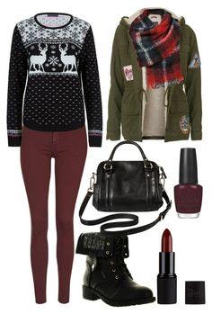 """Red and black winter"" by lewiskate-1 on Polyvore featuring Refresh, Topshop, M&S Collection, OPI and Merona"