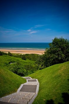 Steps leading down to Omaha Beach from the World War II American Cemetery & Memorial ~ Normandy ~ France