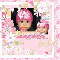 Cute baby girl digital scrapbooking layout idea! She is so sweet and this kit worked perfectly with the soft colours and digital elements! Layout created using Pink Daisies Collection from Nitwit Collections™ #digitalscrapbooking