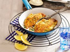 Lemon herb crumbed fish fillets with tartare sauce