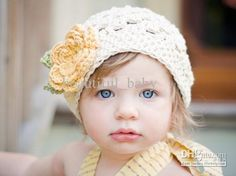 Crochet Baby Beanie 0-8Y Children's Caps Invory Hat with Flower Cotton Yarn Online with $6.33/Piece on Beautiful_baby's Store | DHgate.com