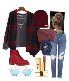 """MAROON.   Winter/Fall outfit chic fashionable"" by jojogogo2003 on Polyvore featuring Topshop, Christian Dior, Amanda Rose Collection, Timberland, MICHAEL Michael Kors, Neff, Yves Saint Laurent and G-Shock"