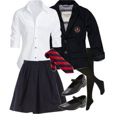 British School Uniform by thecrazytealady on Polyvore featuring Steffen Schraut, Abercrombie & Fitch, Carven, ROC, women's clothing, women's fashion, women, female, woman and misses