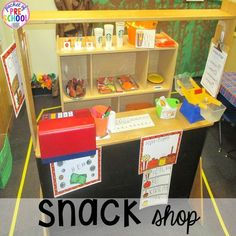 Pumpkin Patch Dramatic Play (snack shop): How to set it up in your preschool, pre-k, tk, and kindergarten classroom Preschool Centers, Fall Preschool, Kindergarten Crafts, Preschool At Home, Kindergarten Classroom, Classroom Activities, Preschool Ideas, Eyfs Classroom, Classroom Ideas