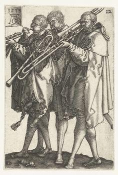 Heinrich Aldegrever | Drie muzikanten, Heinrich Aldegrever, 1538 | Drie mannen spelend op een Sackbut (baroktrombone). Twaalfde prent uit een serie van twaalf, vrij naar het werk van Hans Schäufelein.
