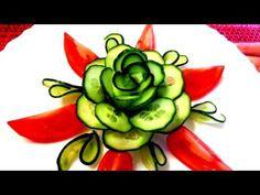 HOW TO MAKE CUCUMBER FLOWER - CARROT ROSE - ART IN CUCUMBER DESIGN GARNISH & VEGETABLE CARVING - YouTube