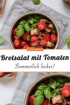 Smarte Resteküche: Sommerlicher Brotsalat mit Tomaten - kalorienarm - schnelles Rezept - einfaches Gericht - So gesund ist das Rezept: 9,0/10 | Eine Rezeptidee von EAT SMARTER | Feierabend-Rezepte, Günstige-Rezepte, Kochen für Berufstätige, Rezepte zum Mitnehmen, Salat to-go, Einfach, Einfache vegetarische Gerichte, Ferienküche, Für jeden Tag, Gartenparty, Picknick, Resteverwertung, Salat, Mediterrane Salate, sättigender Salat, Mittagessen, Abendessen #brotsalat #gesunderezepte Salat To Go, Eat Smarter, Nom Nom, Vegan, Vegetables, Food, German Girls, Recipes, Poor Mans Recipes