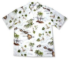 Voyage White Hawaiian Cotton Aloha Shirt   #alohashirt #cheaphawaiianshirt #hawaiianshirts #vintagehawaiianshirts #hawaiianshirt