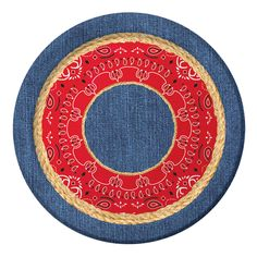 Our Bandanarama Dessert Plates are perfect for serving appetizers, snacks and desserts at your hoe down celebration event!    This western style paper plate features a textured blue denim background accented with red bandana print and braided jute rope accents in the center of the 6.75 inch dessert size plate.  Coordinates with the Bandanarama theme party supplies and come in packages of 8.