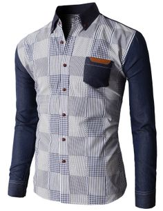Doublju Men's Slim Fit Button Down Shirts With Plaid Patterned With Denim Sleeves (KMTSTL0193) #doublju