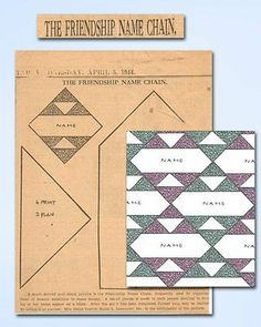 1940s Old Kansas City Star Quilt Pattern 1944 The Friendship Name Chain Quilt | eBay