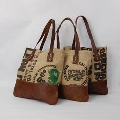 Coffee Totes are one-of-a-kind and made from reclaimed coffee bean bags. Each tote features a leather bottom in Distressed Brown, auburn straps, brass hardware and a neutral lining. Measurements: x with a handle drop. Made in Washington, D. Sacs Tote Bags, Reusable Tote Bags, Leather Bean Bag Chair, Leather Bags, Tan Leather, Diy Sac Pochette, Burlap Purse, Diy Burlap Bags, Coffee Bean Sacks