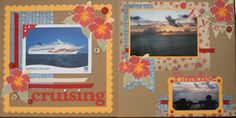 Open & Closing page of cruise album.  Retired Moon Doggie paper & Extreme Happiness stamp set.  www.clearly.myctmh.com