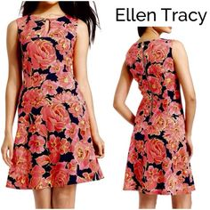 """Ellen Tracy Pink Floral A-Line Dress Gorgeous Ellen Tracy Dress in a two- tone pink floral design with a navy background, exposed back zipper with gold disc logo, front keyhole with gold detail finish...fully lined in navy..polyester/spandex..length:38.5"""", bust:38"""", waist:33"""" Ellen Tracy Dresses"""