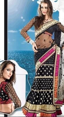 Tranquil Black Embroidered Saree