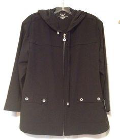 ZENERGY by Chico's sz 2 M / L Black Stretch Hooded Neema Zip Jacket #ZenergybyChicos #BasicJacket