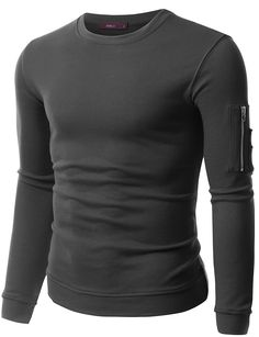 Doublju Mens Long Sleeve Heavy Weight Crewneck Sweatshirt at Amazon Men's  Clothing store: