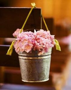 Country wedding flowers.. @Jillian Chimko - these would be cute with wildflowers in them as aisle markers:)