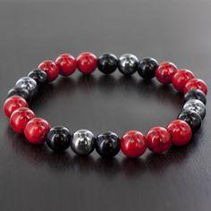 Men's Onyx, Hematite, and Dyed Turquoise Gemstone Stretch Bead Bracelet - 7.5…