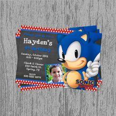 Sonic the Hedgehog Custom Birthday Invitation Digital File; You Print Sonic Birthday Cake, Sonic Birthday Parties, Sonic Party, Birthday Themes For Boys, 7th Birthday, Birthday Party Themes, Birthday Ideas, Hedgehog Birthday, Custom Birthday Invitations