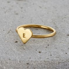 Personalised Mini Heart Ring | Posh Totty Designs