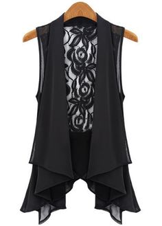 Fine Quality Sleeveless Lace Patchwork Black Vest for Woman